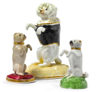 A Derby Porcelain Figure Of A Begging Pug Circa 1830