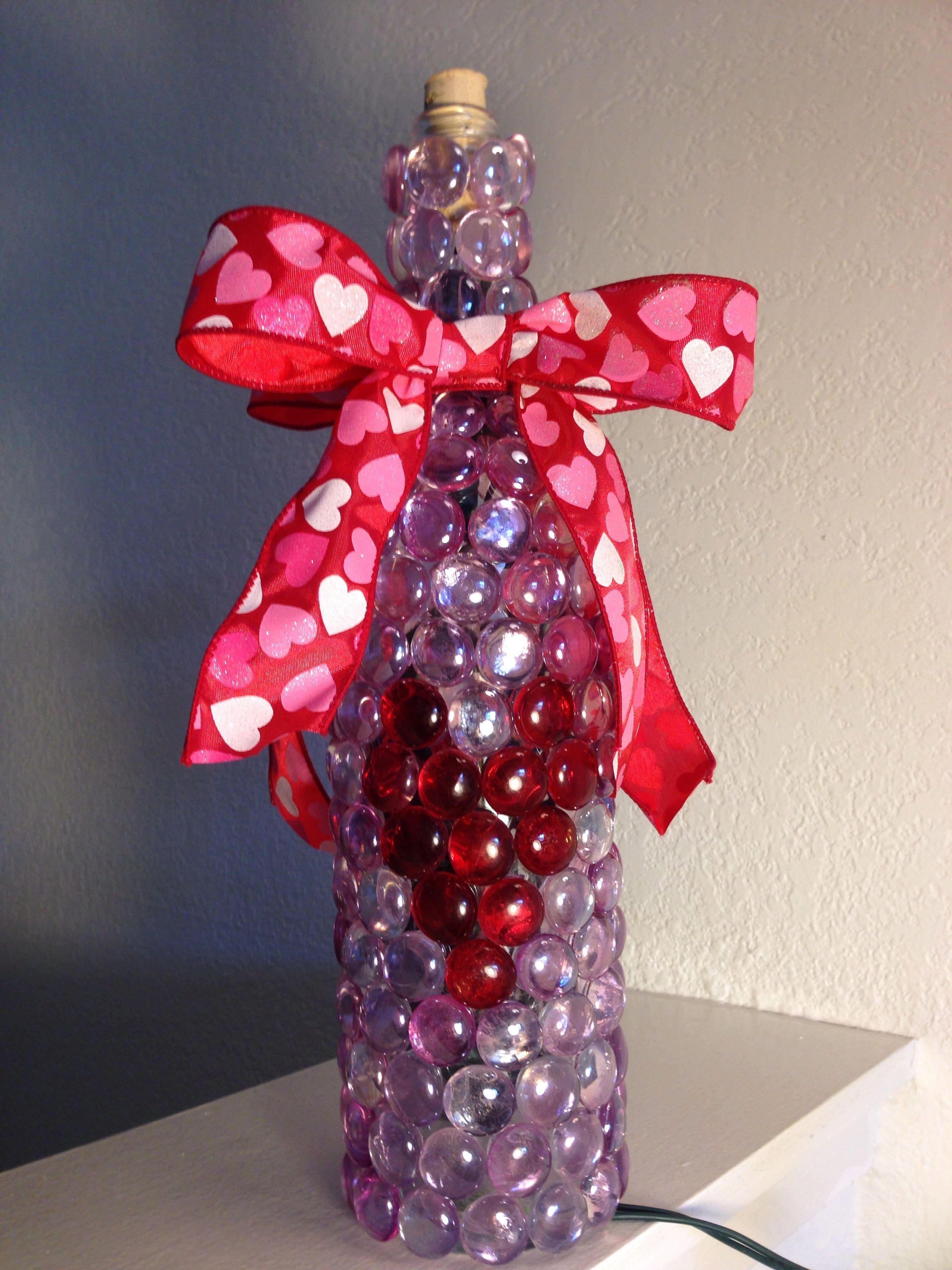 Lighted heart wine bottle valentines wine wine bottle