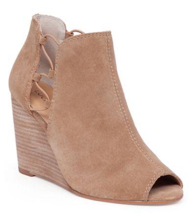 Lucky Brand Reevas Side Cutout Peep-Toe Wedge Booties #Dillards