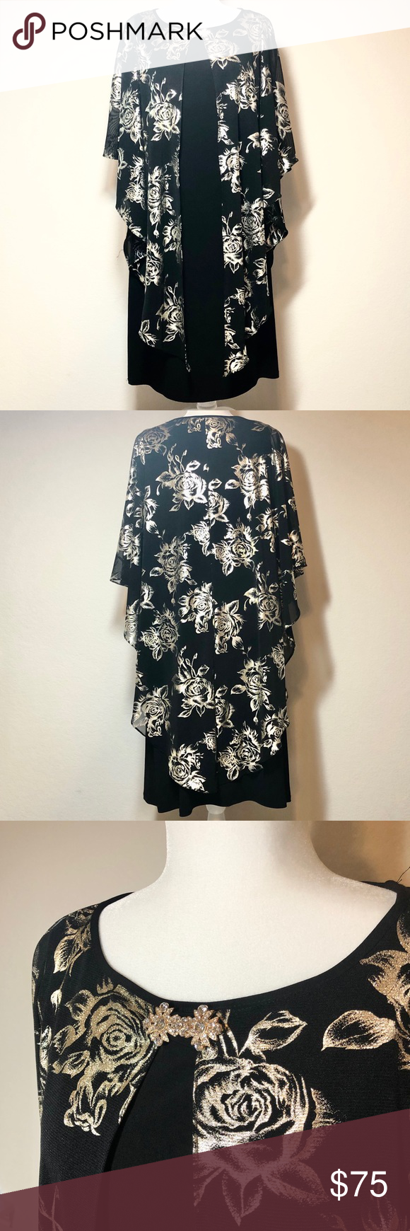 """NWT❣️😍Gold & Black Made in Egypt Long Dress 💎Condition: new with tags  💎No flaws  💎Notes:  •No lining BUT dress fabric is thick  enough to not need it.  •Please see last picture for length dimension  •Shiny flowers are not like glitter it doesn't come off. •Size: 16 Egypt •Length: 40"""" approx . Item#0289 Glomour Nights Dresses Maxi"""