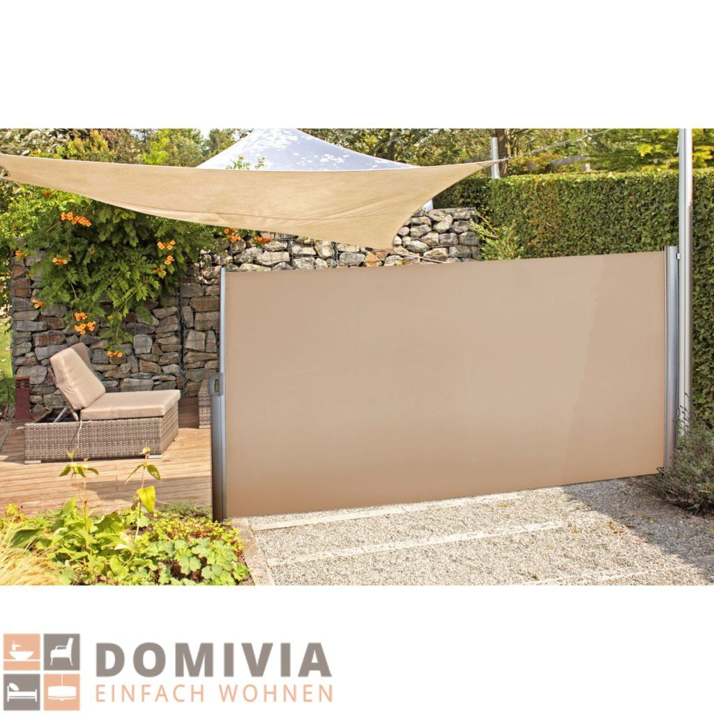 Seitenmarkise beige 300—160 cm Terrasse Garten Trennwand