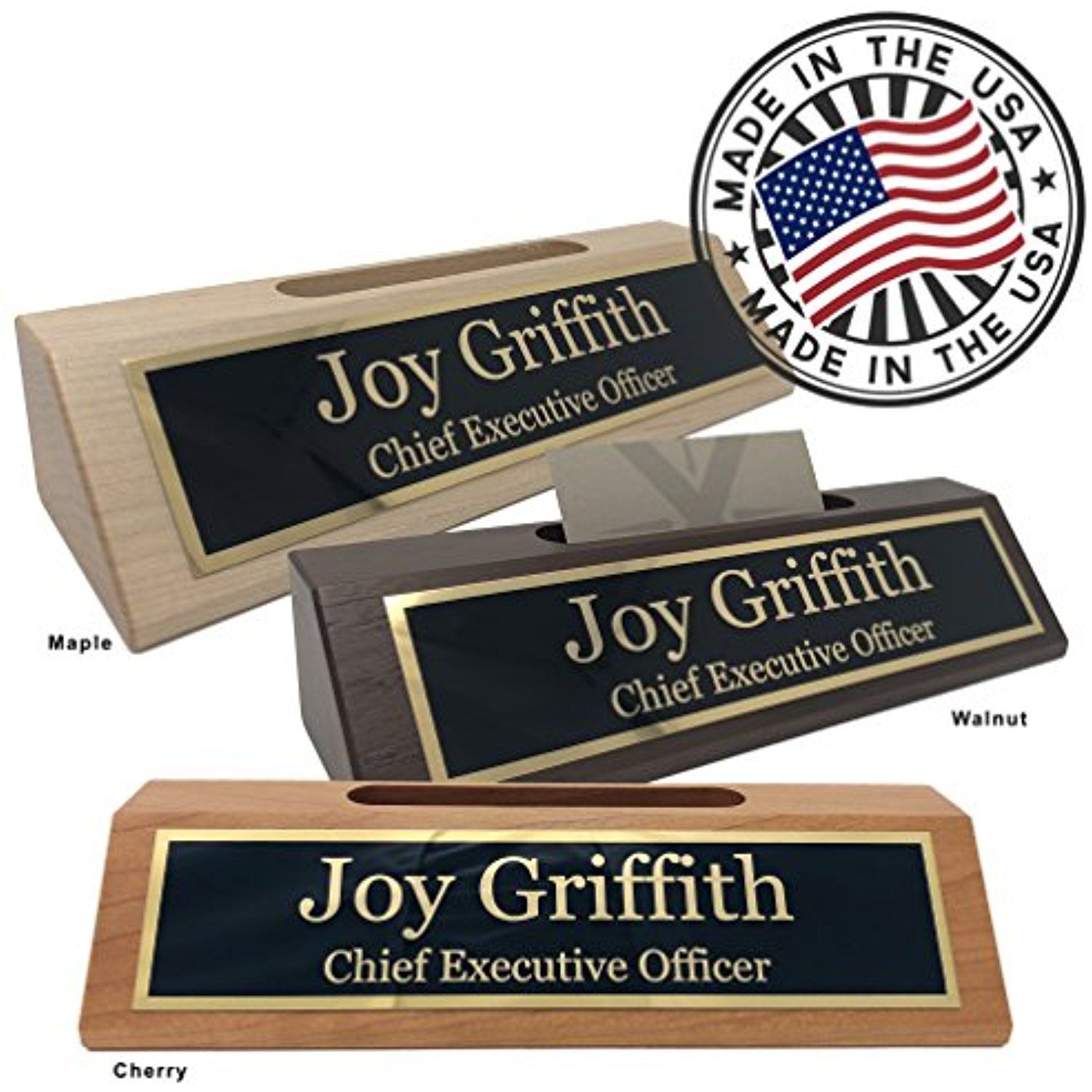 Personalized Business Desk Name Plate with Card Holder - Made in USA ...