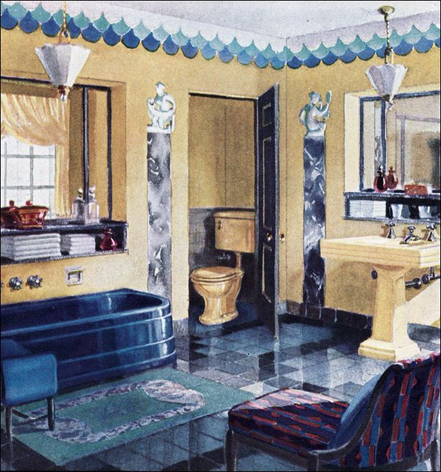 Blue And Yellow Bathroom Decor: 1929 Crane Plumbing Fixtures