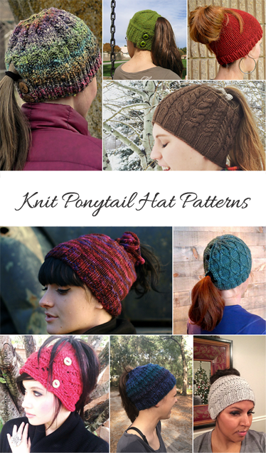 Knit hat with ponytail hole pattern round up. 11 patterns featured and  includes links to 3 knit bow patterns. 91fd565ca12