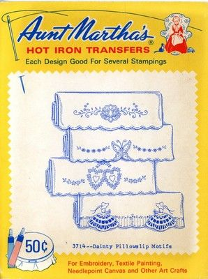 Aunt Martha 3714 Dainty Pillowslip Motifs. A retired 1950s hand embroidery iron on transfer.