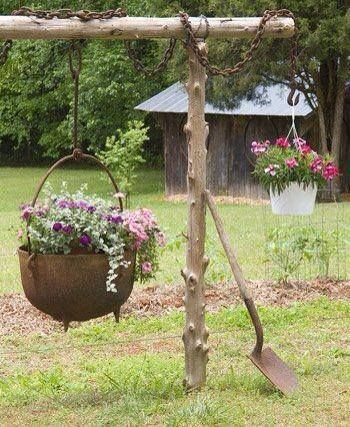 Old Iron Wash Pot Planter.