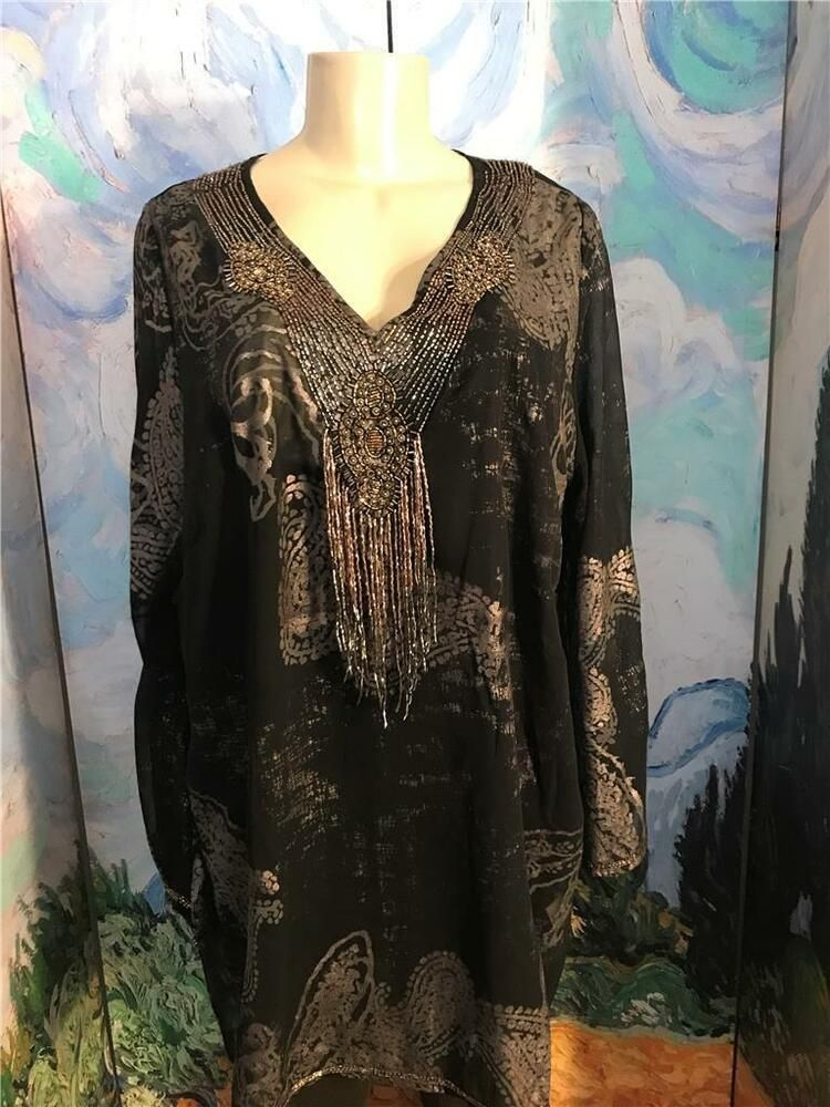 6836060c6ae Roaman's 20W Black/Silver Beaded Foil Print V-Neck Long Sleeve Tunic Top  #Roamans #Blouse #EVENING