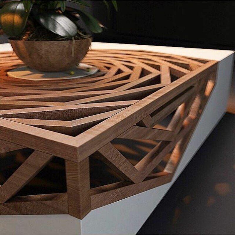 Hanako solid wood abstract coffee table in 2021 coffee