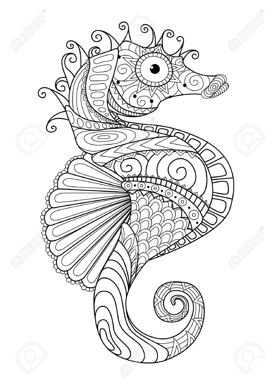 Hand Drawn Sea Horse Style For Coloring Page T Shirt Design تلوين