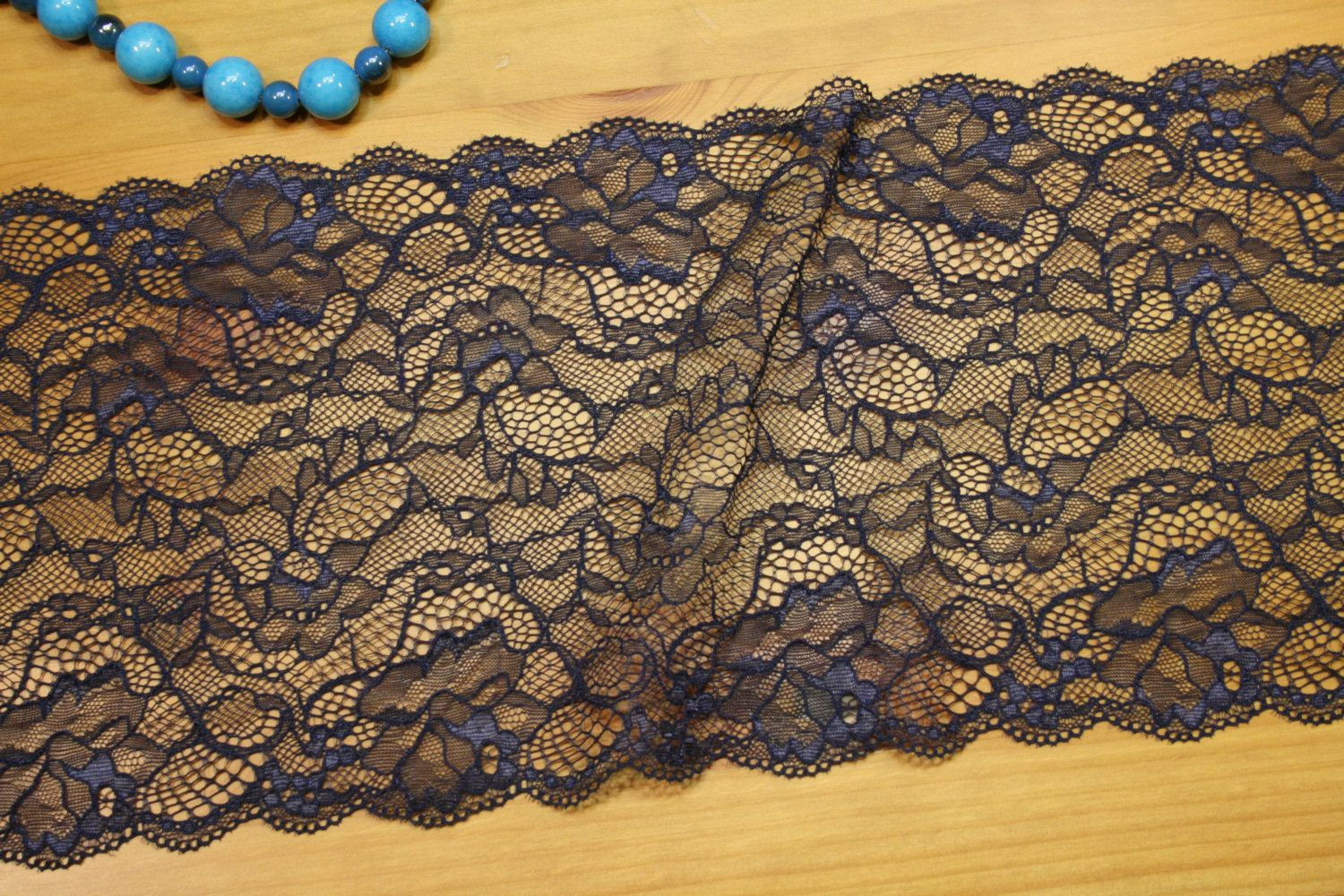 Navy Blue Lace Trim 7 17 8 Cm Unstretchable Wide Lace Ribbon With Floral Design Sewing Woven Fabric Lace By Lacedreamforyou On Blue Lace Lace Lace Ribbon