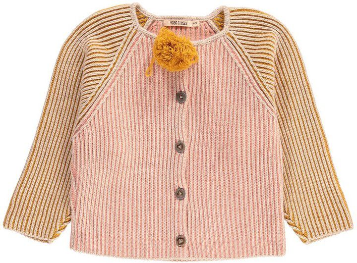 c658832dc Two-Tone Bobo Choses Striped Knitted Cardigan with Pompom