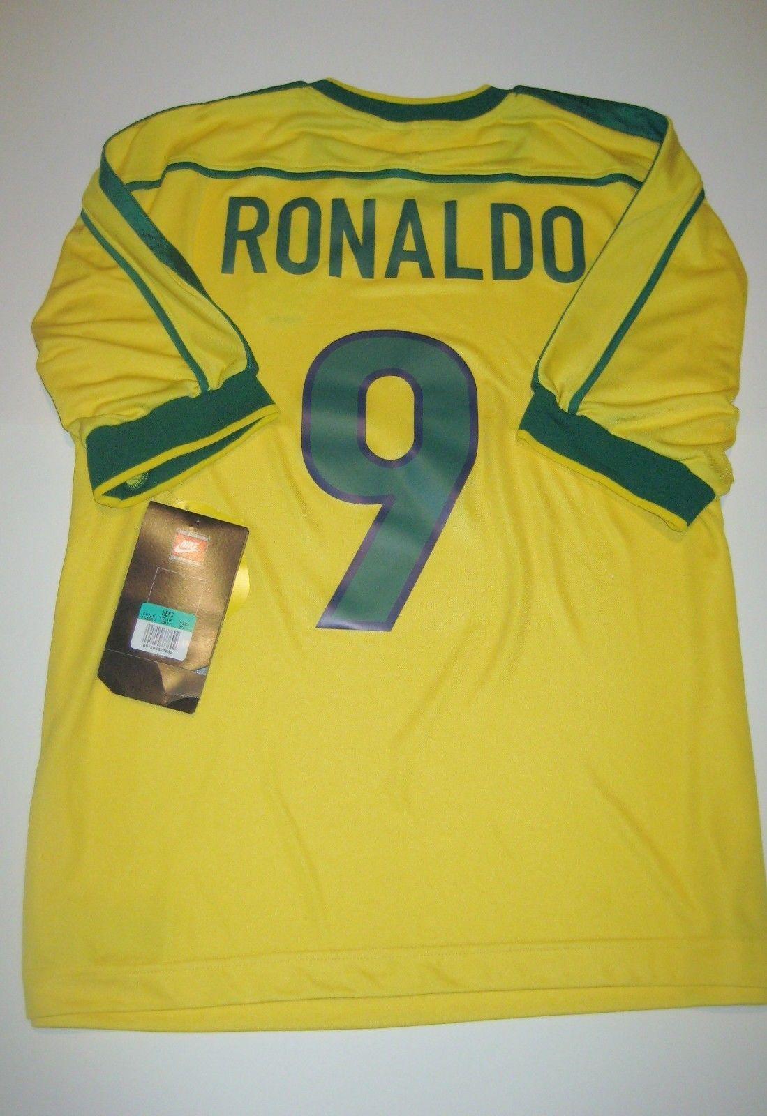 New 1998-2000 World Cup Nike Brazil Ronaldo  9 Kit Jersey Brasil Home Shirt  (eBay Link) 011dad6f5