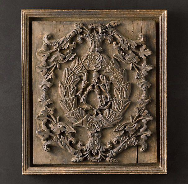Hand-Carved Rococo Wood Panel Natural Small / Painel de Madeira Rococó Entalhado à mão