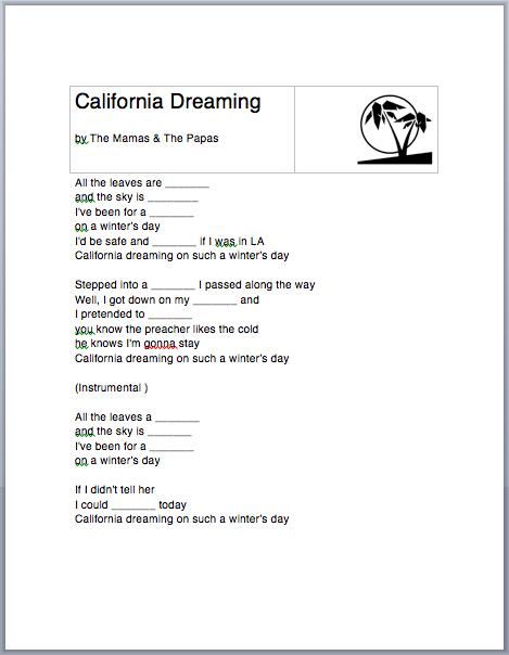 California Dreamin Worksheet Lyrics Esl Efl Worksheets For Kids Kids Math Worksheets Esl Worksheets