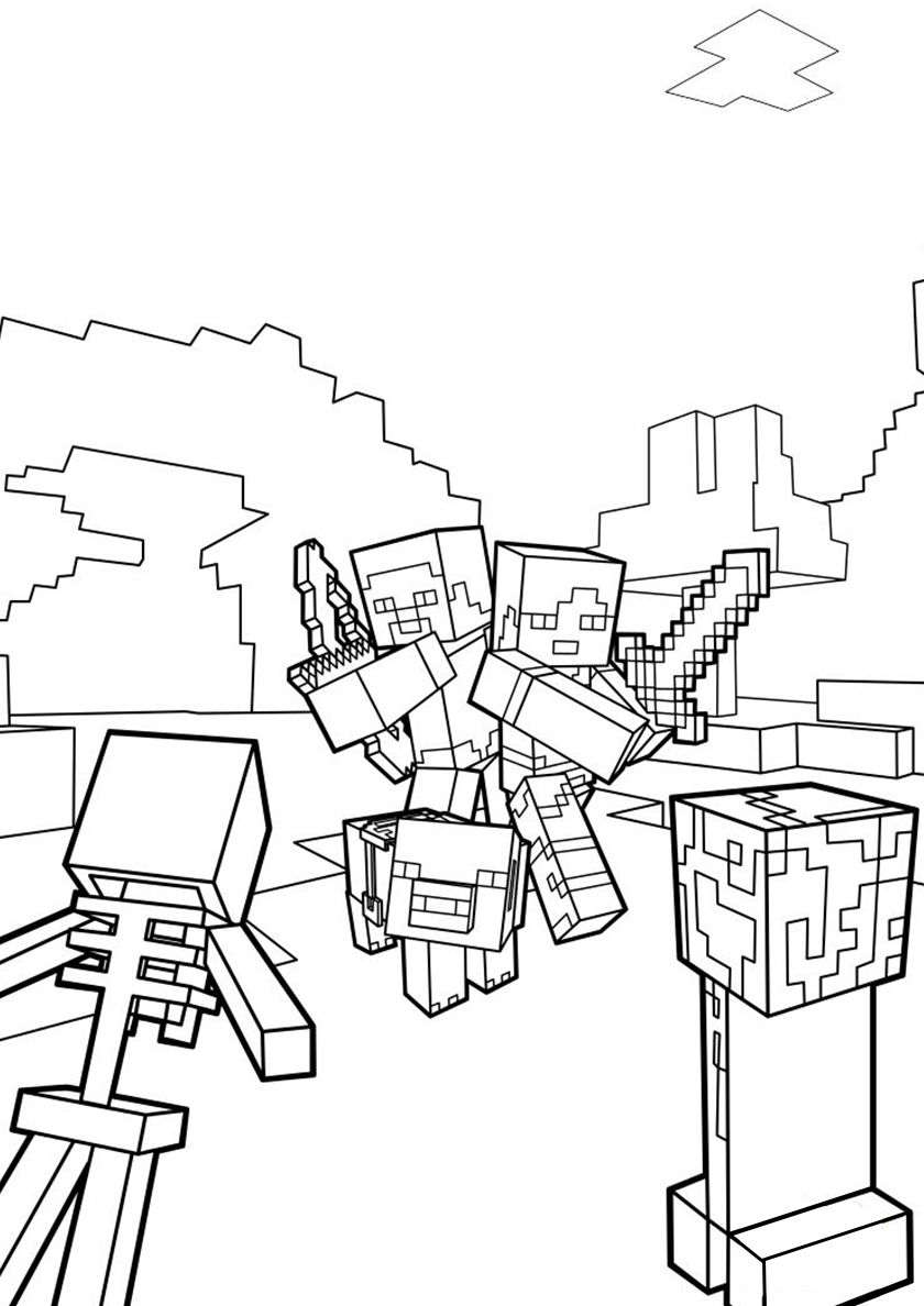 Battle In Minecraft Minecraft Coloring Pages Coloring Pages