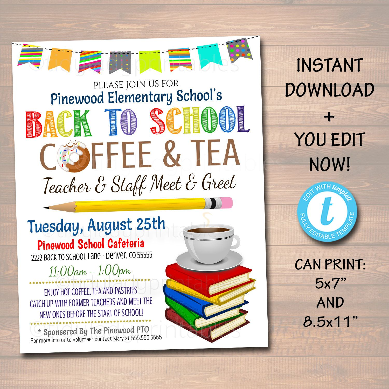 Editable Teacher Staff Meet And Greet Breakfast Social Etsy Back To School Teacher Pto Flyers Teacher Meet and greet flyer template