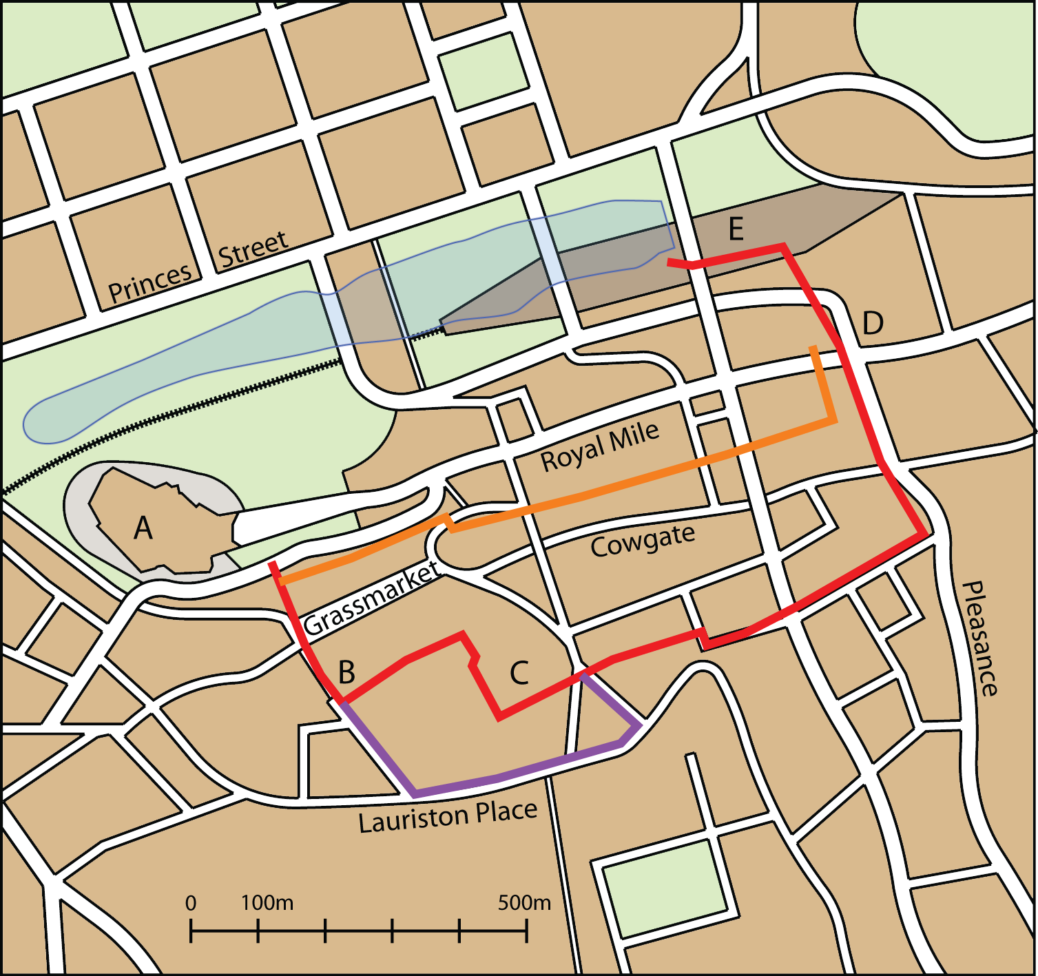 A map of central Edinburgh showing the locations of the town walls