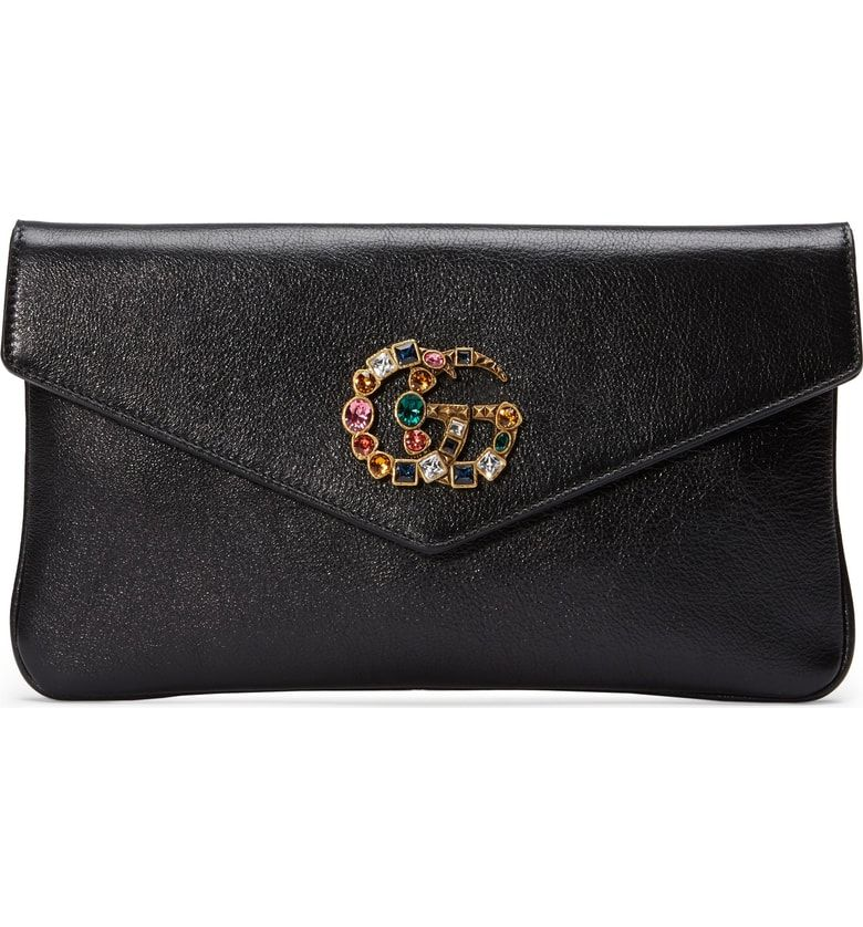 5e32f9f716ab Free shipping and returns on Gucci Broadway Crystal GG Leather Envelope  Clutch at Nordstrom.com. Rainbow crystals illuminate the double-G logo at  the flap ...