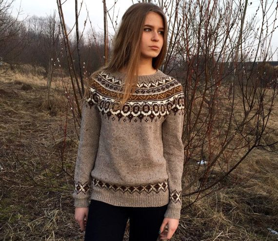 Fair Isle Sweater Nordic Sweater Taupe Sweater Women S Etsy Fair Isle Sweater Icelandic Sweaters Taupe Sweater