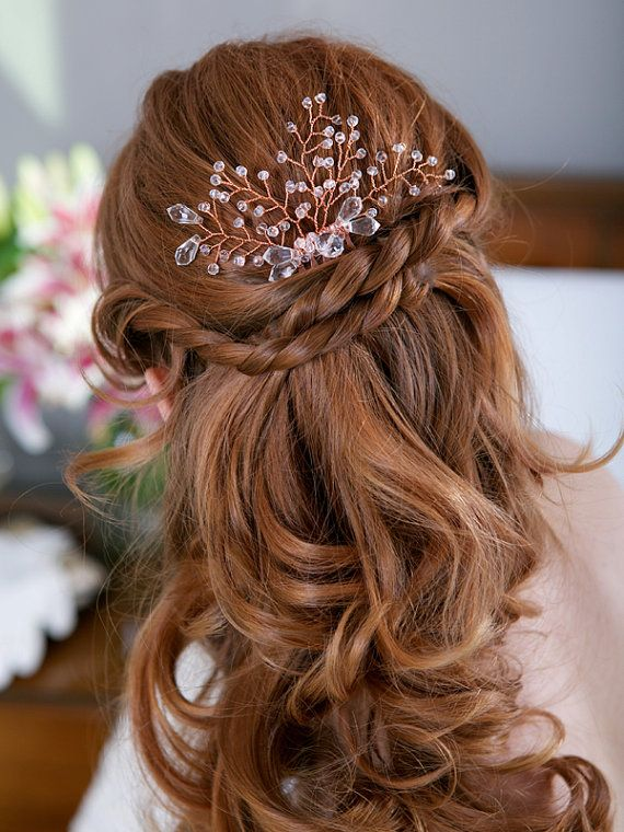 Bridal Hairstyle With Rose : Copper crystal fern headpiece comb twig bridal hair
