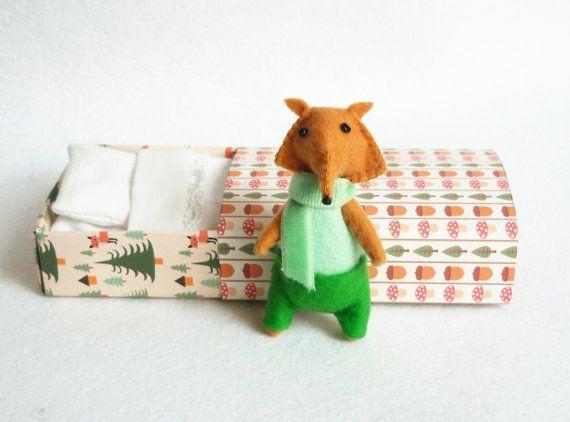 Felt fox miniature plush Otto green by atelierpompadour on Etsy, €17.00
