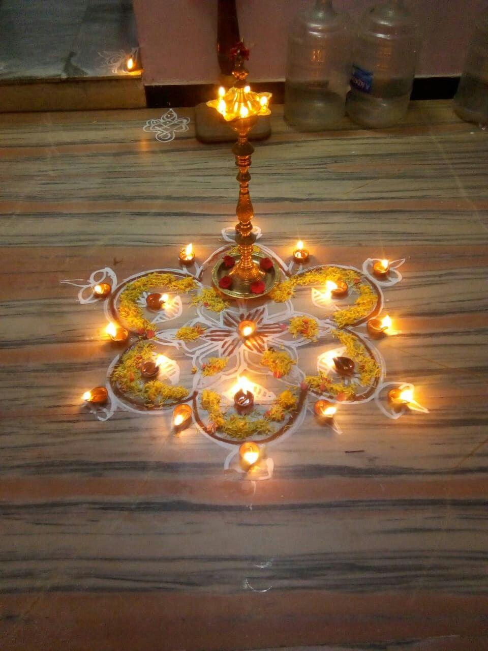 Karthigai deepam décor   Rangoli ideas, Decor, Flower rangoli