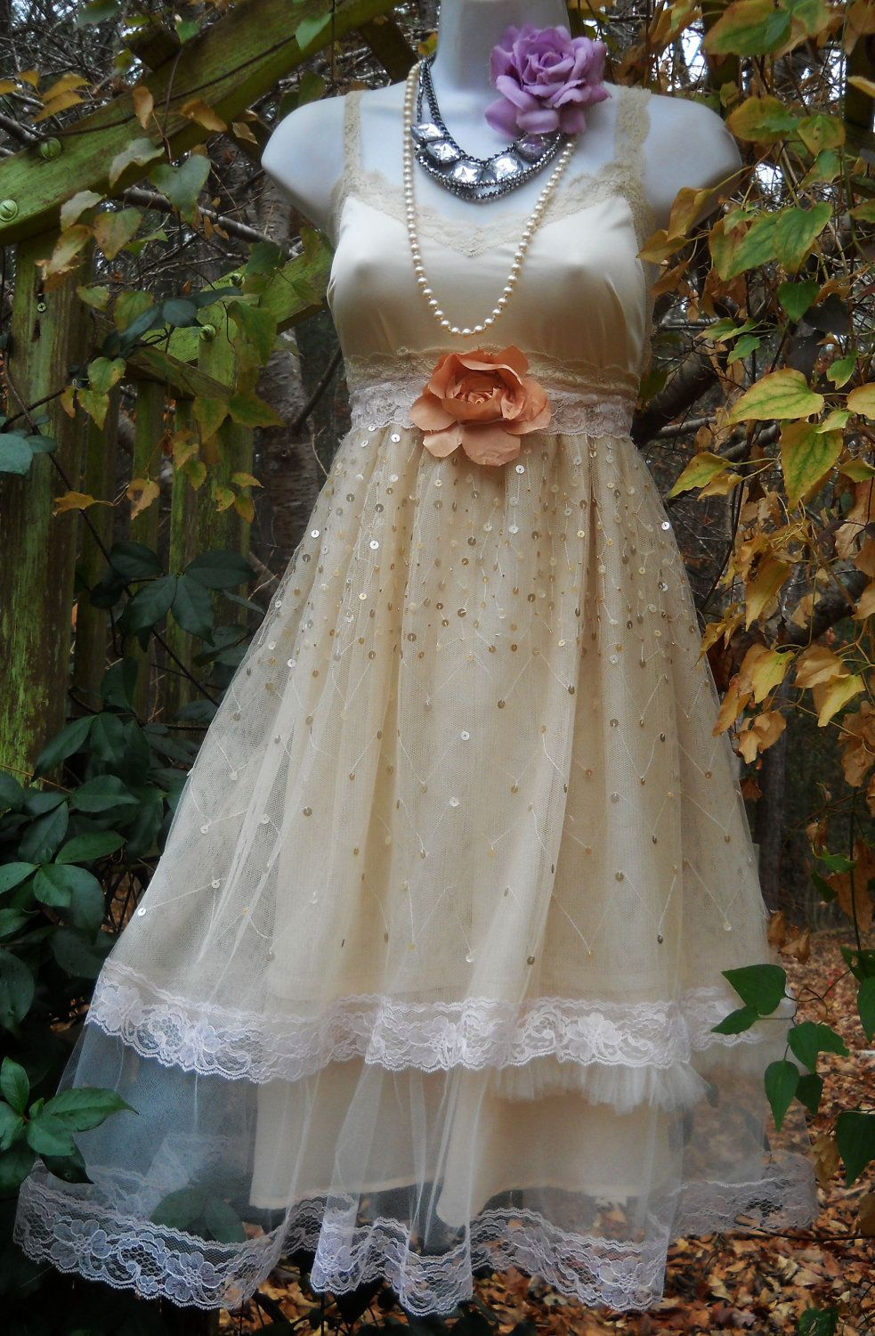 Tulle party dress sequins lace cream  rose baby doll  wedding bridesmaid vintage   romantic medium by vintage opulence on Etsy. $120.00, via Etsy.