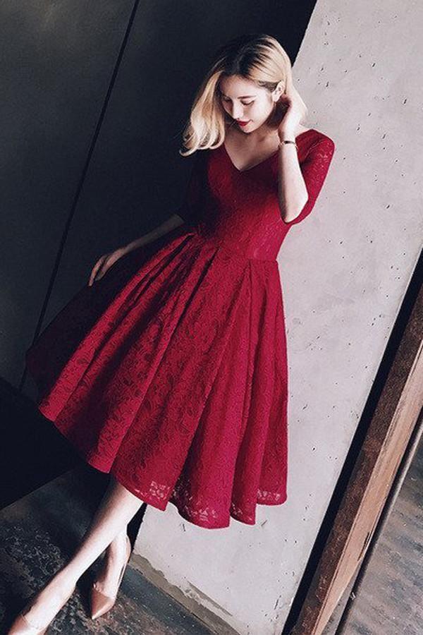 burgundy lace v-neck homecoming dress,half sleeve v neck