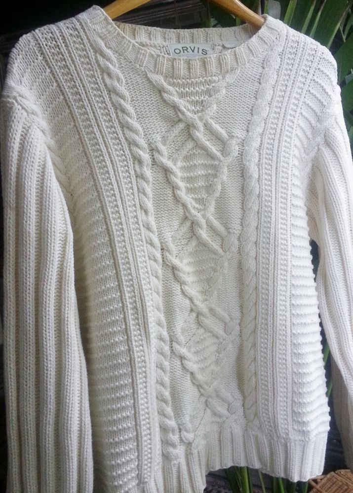 20767b19e4f Orvis Irish Fishermans Cable Knit Sweater 100% cotton off white pull over  medium  orvis  BoatNeck