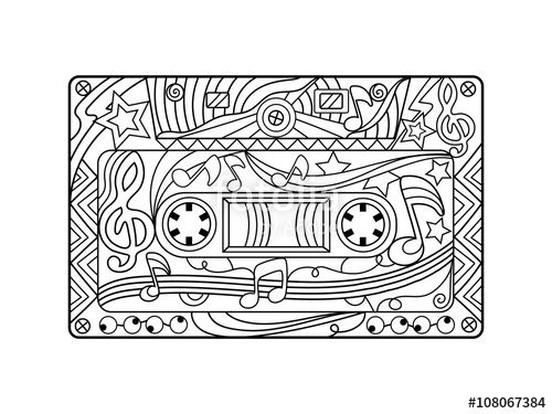 audio cassette coloring page for adults by alexander pokusay on fotolia