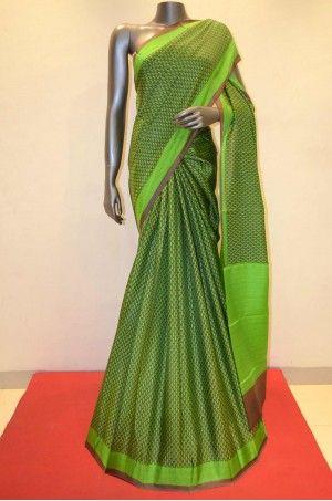 Gorgeous Green Printed Silk Saree               Product Code: AA200812