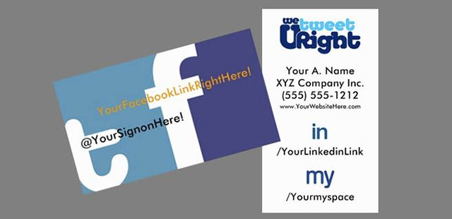 Basic social media business cards that boldly promotes twitter basic social media business cards that boldly promotes twitter facebook linkedin myspace links and website with possibility of upgrading with other reheart Gallery