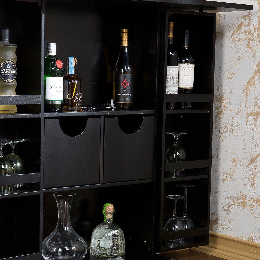 Amazon Com Southern Enterprises Hz1021 Foldaway Back Home Bar Black Furniture Decor Wine Cabinets Nebraska Furniture Mart Pub Furniture