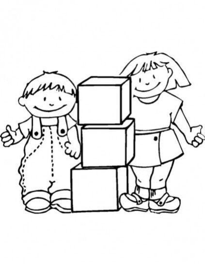 Dibujos De Ninos Jugando Para Colorear Preescolar Imagui Con