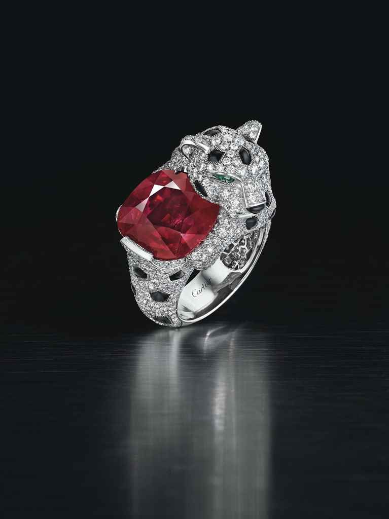 A magnificent ruby, diamond and onyx 'panthère' ring