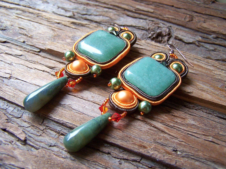 Soutache Jewelry. Greenorange Earring. Autumn colors