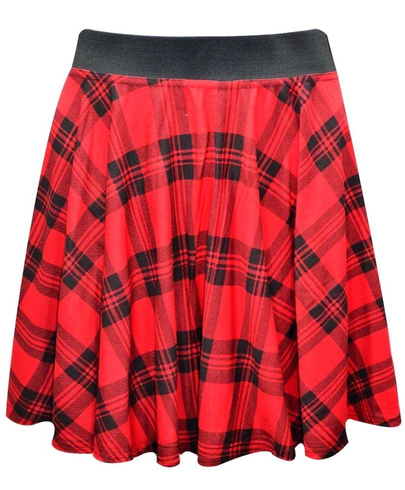 1603fdf4a07 New women s red tartan check print elastic stretch waist skater mini skirt   Unbranded  Mini