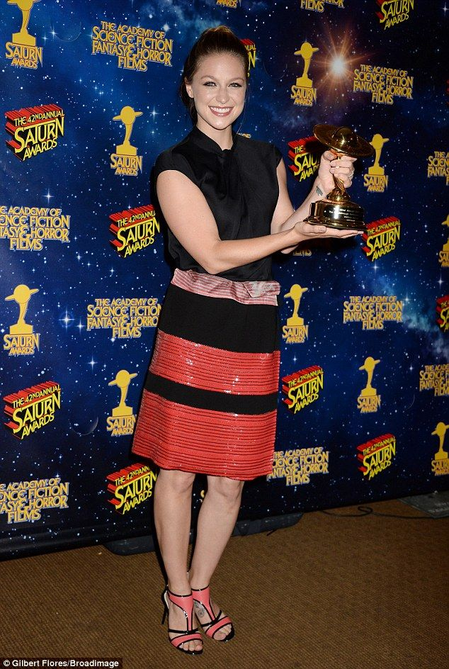 She's a winner! Supergirl star Melissa Benoist shows off her Saturn Award for Breakthrough Performance