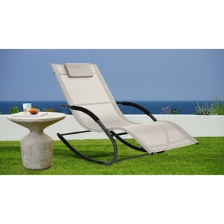 Relax A Lounger Tampa Outdoor Rocking Lounger Beige Solid