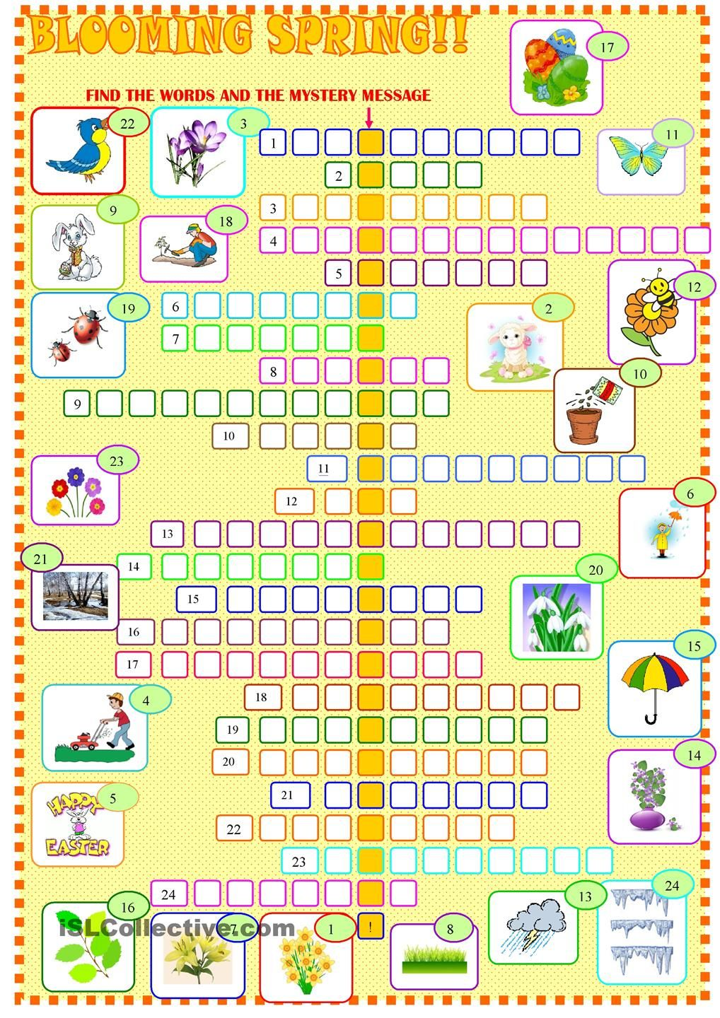 Spring :crossword puzzle | TESOL Spring / Summer Worksheets | Pinterest