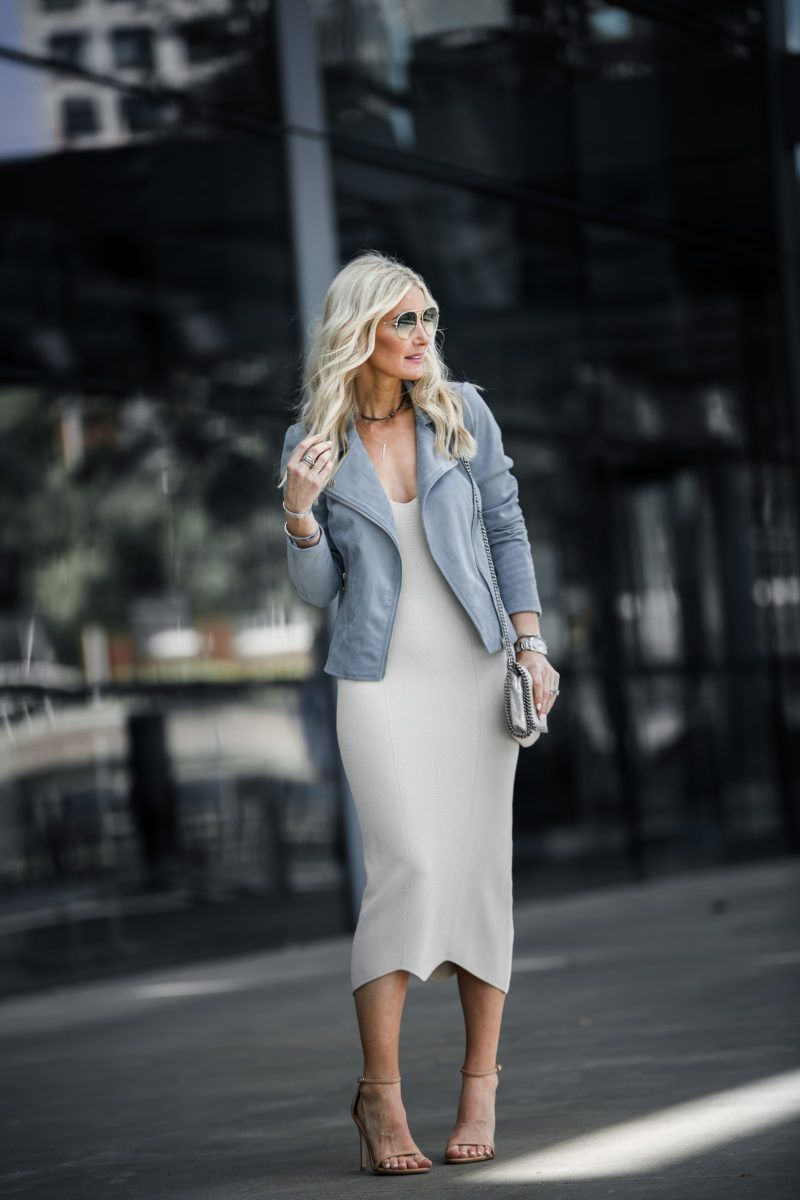 Amy Heather Nude slip dress midi under $100 paired with faux suede moto