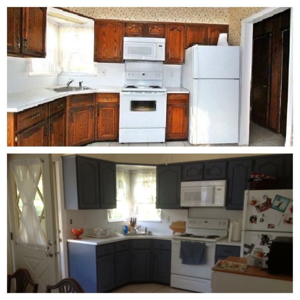 Painted Kitchen Cabinets By First Cleaning And Removing Any Hardware Then Using Annie Sloan Chalk P Kitchen Cabinets Painting Kitchen Cabinets Annie Sloan Wax