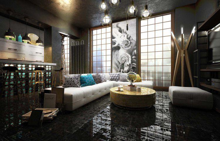 lampadaire design, canapé d\u0027angle blanc neige, table basse en métal