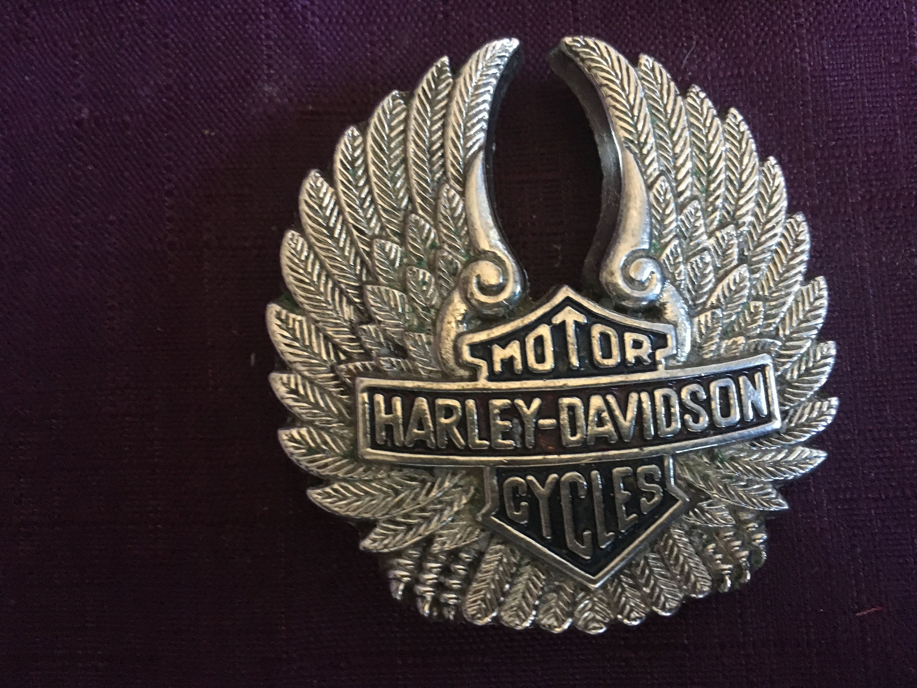 Collectible 1983 harley davidson silver buckle wings motor