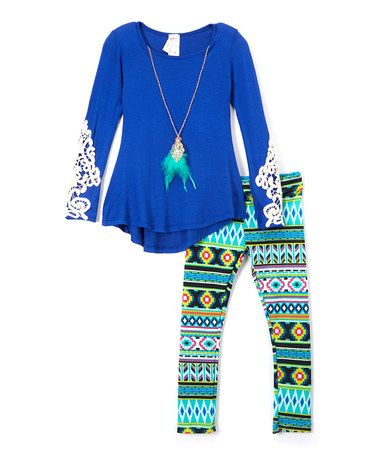 Another great find on #zulily! Royal Blue Crochet-Accent Top Set - Toddler & Girls #zulilyfinds