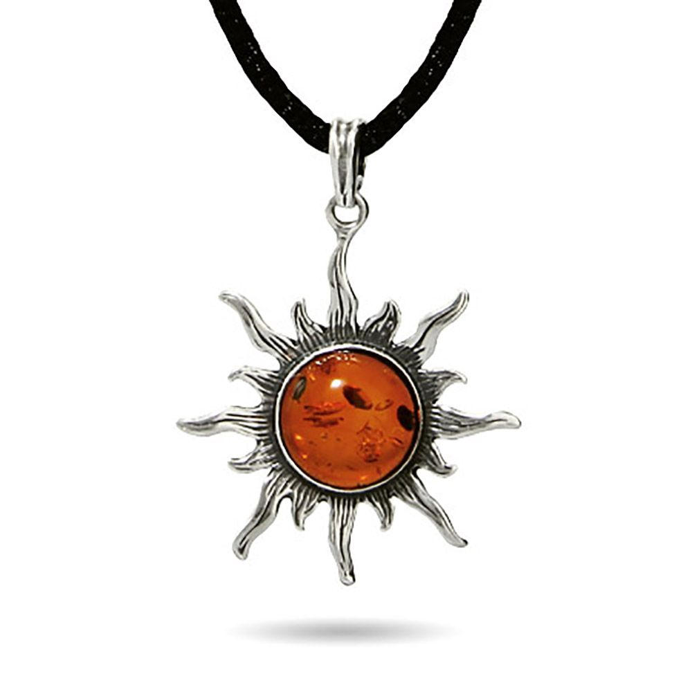 Large Sterling Silver & Baltic Amber Sun Pendant/Pendants apoUNmow