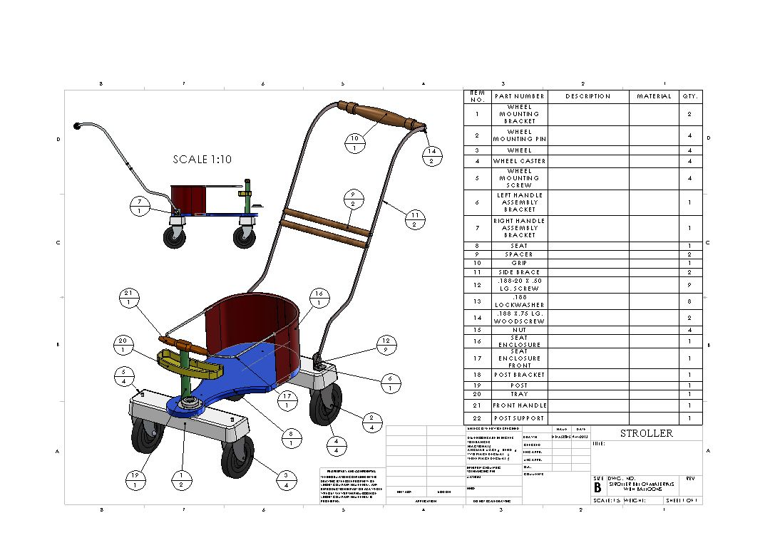 STROLLER WITH BILL OF MATERIALS