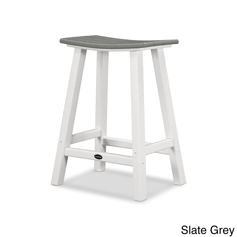 Contempo polywood inch saddle bar stool white frame slate grey