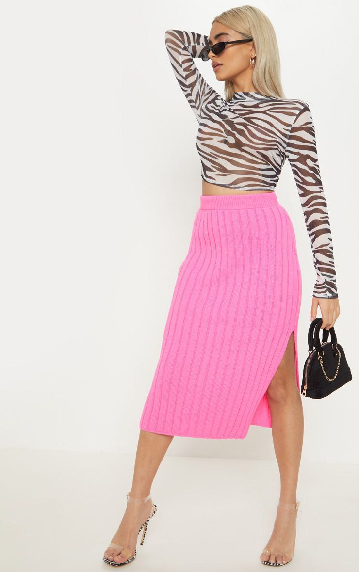 098e54a09a Petite Hot Pink Knitted Ribbed Midi Skirt in 2019   Products   Midi ...