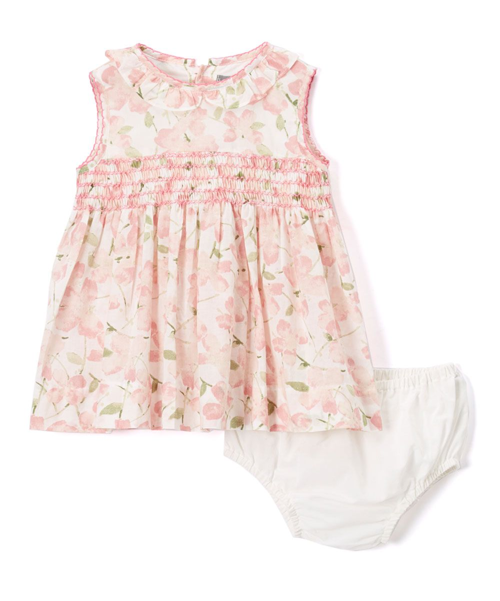 Pink Floral Smocked Swing Top & White Diaper Cover - Infant